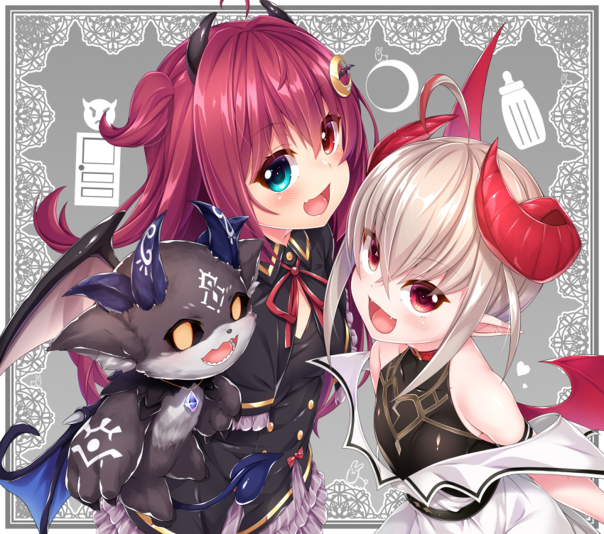 2girls :d absurdres bangs black_capelet black_dress black_shirt blue_eyes blush bow brown_wings capelet collared_dress commentary_request crescent crescent_hair_ornament curled_horns debidebi_debiru demon demon_girl demon_horns demon_wings dress emoji eyebrows_visible_through_hair fang fangs frilled_capelet frilled_dress frills hair_between_eyes hair_ornament heart heart_in_eye heterochromia highres horns long_hair looking_at_viewer makaino_ririmu multiple_girls neck_ribbon nijisanji open_mouth pointy_ears red_bow red_eyes red_ribbon red_wings redhead ribbon shirt sleeveless sleeveless_shirt smile symbol_in_eye very_long_hair virtual_youtuber wakagi_repa white_dress wings yuzuki_roa