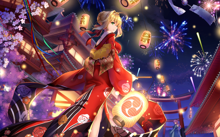 2girls aerial_fireworks ahoge architecture blonde_hair braid breasts building character_request cherry_blossoms crown_braid east_asian_architecture fate/grand_order fate_(series) fireworks floral_print flower green_eyes hair_intakes hair_ribbon highres holding japanese_clothes kimono lantern large_breasts long_sleeves looking_at_viewer looking_back multiple_girls nero_claudius_(fate) nero_claudius_(fate)_(all) night night_sky obi off_shoulder outdoors paper_lantern pink_flower purple_hair ribbon sash short_hair sky smile standing torii wide_sleeves yue_xiao_e yukata