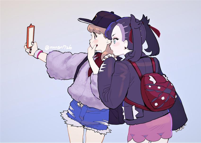 2girls artist_name backpack bag black_jacket black_nails bracelet brown_hair cellphone denim denim_shorts dress eyelashes green_eyes grey_cardigan hat highres jacket jewelry katsuoboshi mary_(pokemon) multiple_girls nail_polish o3o phone pink_dress pokemon pokemon_(game) pokemon_swsh self_shot short_shorts shorts smartphone twintails twitter_username yuuri_(pokemon)