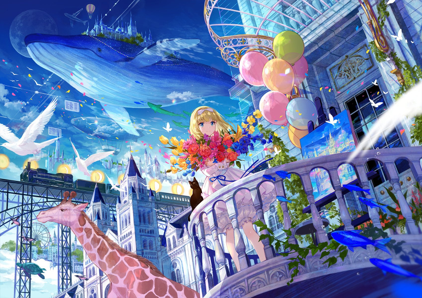 1girl aircraft airplane architecture balcony balloon bird blonde_hair bloomers blue_eyes blue_sky blurry bouquet bow building canvas_(object) castle commentary_request day dirigible dress fantasy ferris_wheel fish flock flower fuji_choko giraffe ground_vehicle hair_bow highres holding holding_bouquet hot_air_balloon locomotive long_hair long_sleeves looking_at_viewer moon original outdoors painting_(object) plant rose scenery sky smile solo standing steam_locomotive sunlight table train transparent turtle underwear whale white_dress