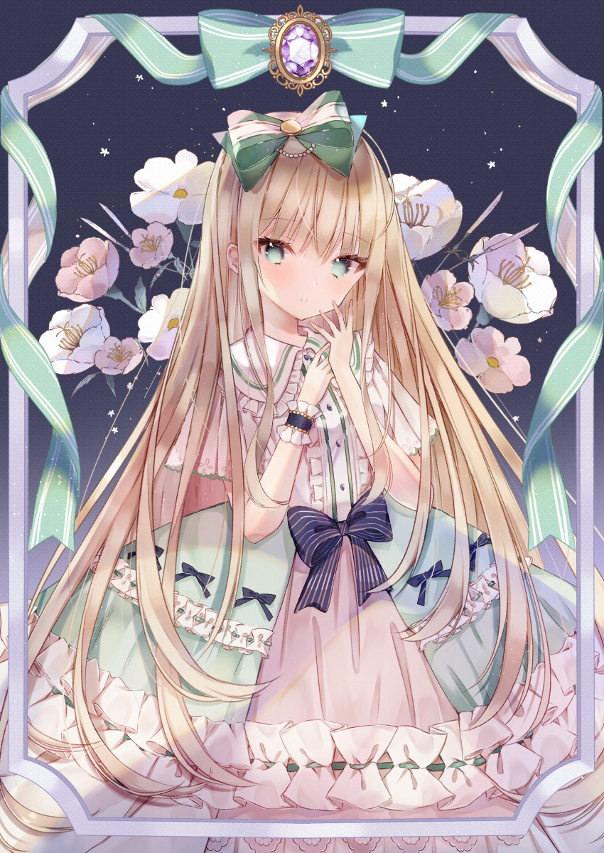 1girl absurdres bangs blonde_hair buttons closed_mouth commentary_request dress eyebrows_visible_through_hair flower frilled_dress frills green_eyes hair_ribbon highres huge_filesize kotamun lolita_fashion long_hair looking_at_viewer original ribbon shawl short_sleeves single_wrist_cuff solo standing striped striped_ribbon very_long_hair