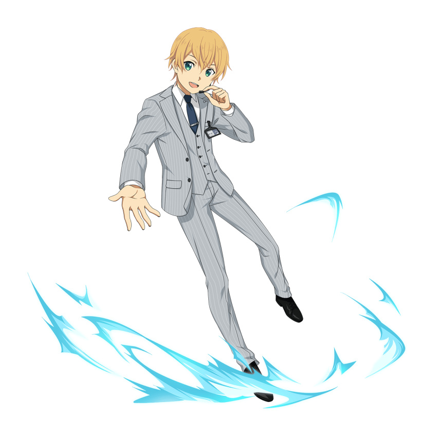 1boy :d black_footwear blonde_hair blue_neckwear collared_shirt eugeo formal green_eyes grey_jacket grey_pants highres jacket long_sleeves looking_at_viewer male_focus microphone necktie open_clothes open_jacket open_mouth pants reaching shirt smile solo striped sword_art_online transparent_background vertical-striped_jacket vertical-striped_pants vertical_stripes white_shirt wing_collar