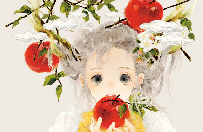 1girl antlers apple branch clouds commentary flower food fruit grey_background grey_eyes grey_hair hands_up highres holding holding_food holding_fruit leaf looking_at_viewer medium_hair moss niwa_haruki open_mouth original portrait shirt simple_background solo white_shirt