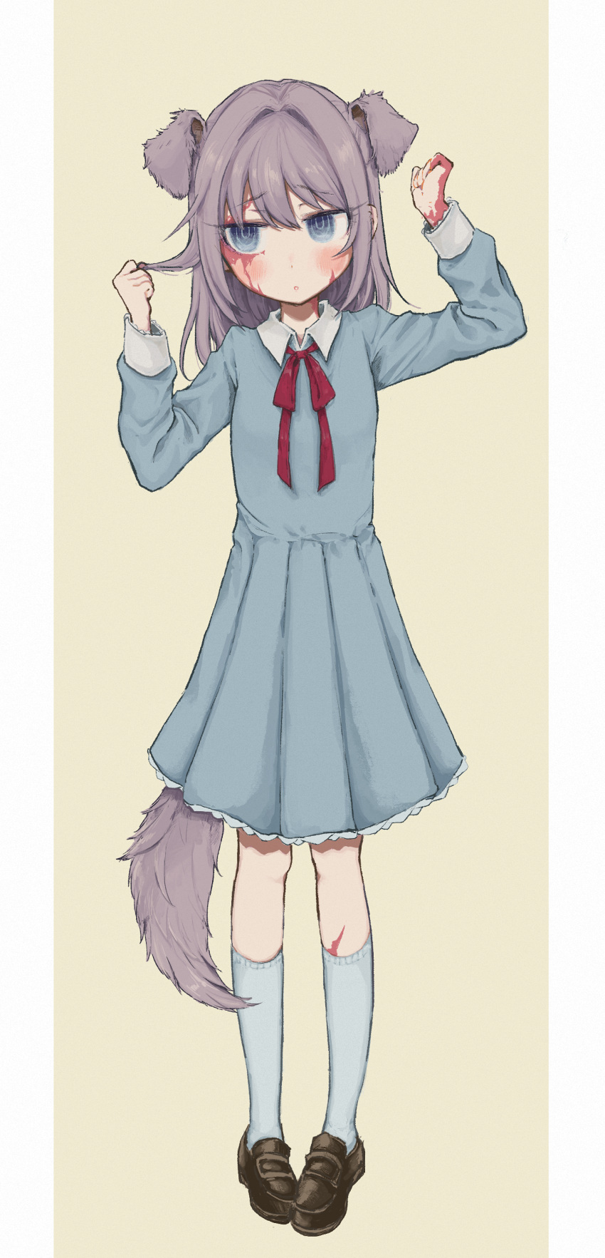1girl absurdres animal_ears bangs black_footwear blue_dress blue_eyes blush burn_scar dog_ears dog_tail dorei_to_no_seikatsu_~teaching_feeling~ dress extra_ears eyebrows_visible_through_hair eyes_visible_through_hair full_body grey_hair hair_between_eyes hands_up highres kemonomimi_mode kneehighs long_hair long_sleeves looking_at_viewer neck_ribbon parted_lips pigeon-toed pleated_dress red_neckwear red_ribbon ribbon ringed_eyes scar shoes simple_background solo standing sutegoma sylvie_(dorei_to_no_seikatsu) tail white_legwear wing_collar