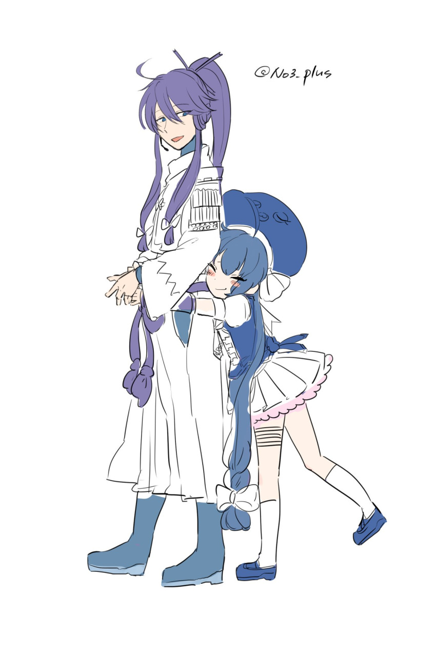 1boy 1girl ahoge blue_eyes blue_hair boots dress eel_hat hair_ornament hat headset highres hug hug_from_behind japanese_clothes kamui_gakupo long_hair n03+ open_mouth otomachi_una ponytail purple_hair simple_background smile twintails twitter_username very_long_hair vocaloid white_background