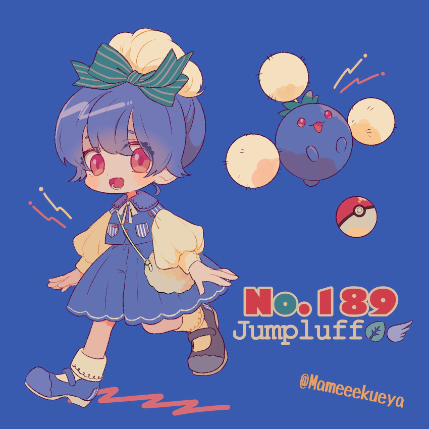 1girl ball bangs blue_background blue_footwear blue_skirt blue_vest creature_and_personification eyes_visible_through_hair gen_2_pokemon highres jumpluff long_sleeves looking_at_viewer mameeekueya number open_mouth personification poke_ball poke_ball_(generic) poke_ball_theme pokemon pokemon_(creature) pokemon_number puffy_long_sleeves puffy_sleeves red_eyes shoes short_hair simple_background skirt smile twitter_username vest walking