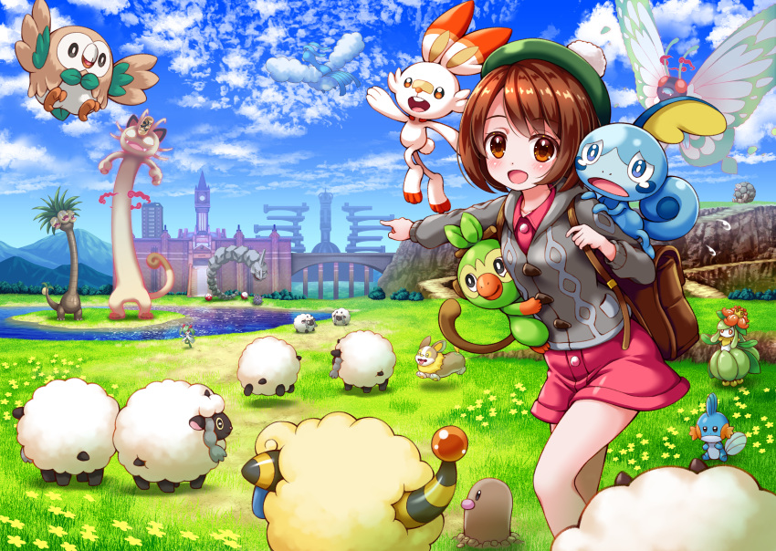 1girl :d absurdres alolan_exeggutor alolan_form altaria backpack bag bird blue_sky bluebird_(bluebird90) blush bridge brown_eyes brown_hair building character_request clock clock_tower clouds cloudy_sky cloyster collared_dress commentary_request day diglett dress electrode field flower flying_sweatdrops gen_1_pokemon gen_2_pokemon gen_3_pokemon gen_5_pokemon gen_7_pokemon gen_8_pokemon gigantamax gigantamax_butterfree gigantamax_meowth golem_(pokemon) grass green_headwear grey_cardigan grookey highres hood hood_down hooded_cardigan huge_filesize island kirlia lilligant long_sleeves looking_at_viewer mareep mountain mudkip onix open_mouth outdoors outstretched_arm owl pink_dress pointing pokemon pokemon_(creature) pokemon_(game) pokemon_swsh rowlet scorbunny sheep sitting sky smile sobble standing tam_o'_shanter tower upper_teeth water wooloo yamper yellow_flower yuuri_(pokemon)