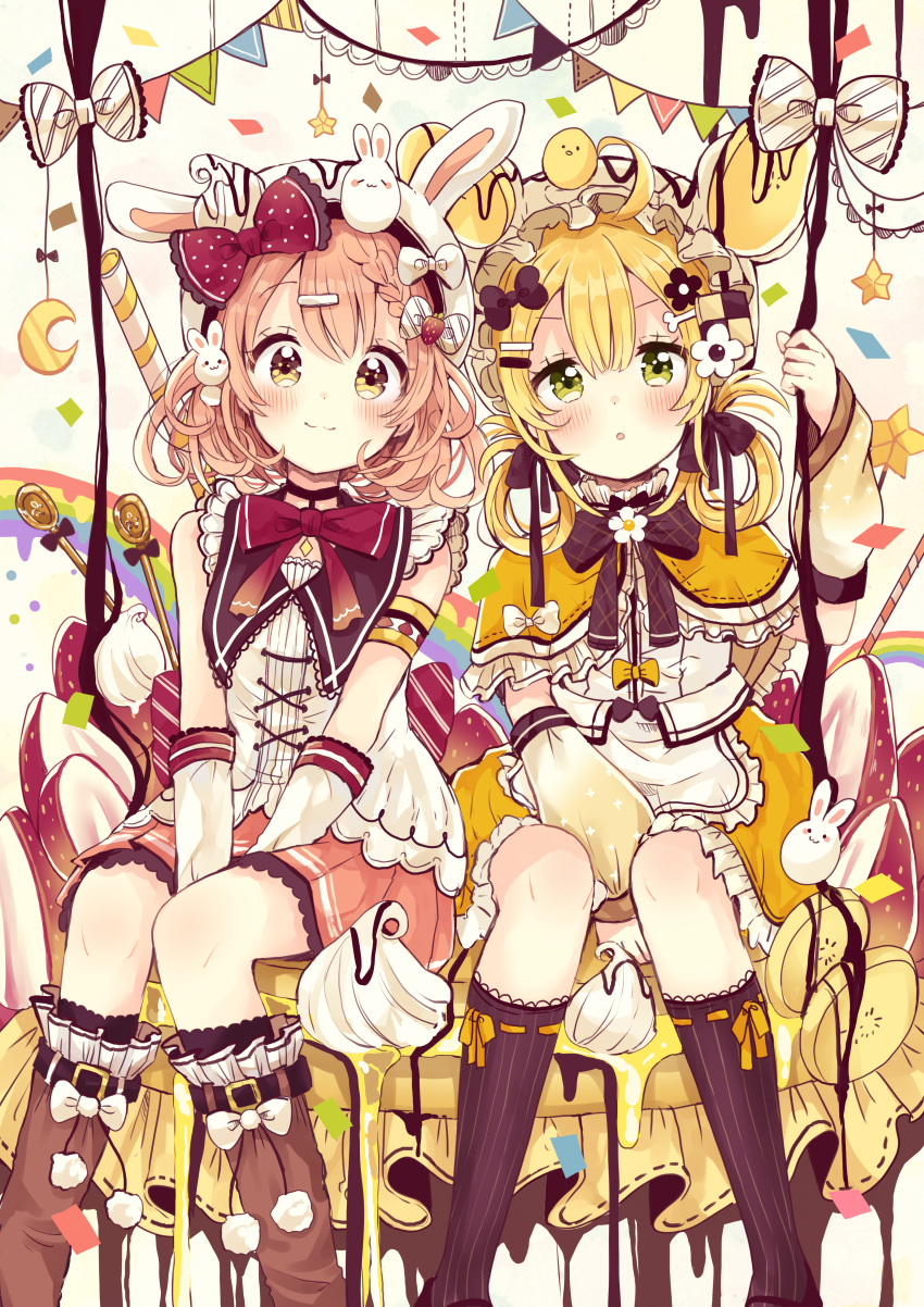 2girls :3 :o absurdres ahoge animal animal_ears animal_hat animal_on_head banana banana_slice bangs bear_ears bear_hat between_legs black_legwear blonde_hair blush boots bow braid brown_eyes brown_footwear brown_hair brown_skirt bunny_hat bunny_on_head closed_mouth commentary_request crescent eyebrows_visible_through_hair fake_animal_ears feet_out_of_frame food fruit gloves green_eyes hair_between_eyes hair_bow hair_ornament hairclip hand_between_legs hat highres knee_boots kneehighs multiple_girls on_head original pancake parted_lips pennant pleated_skirt polka_dot polka_dot_bow rabbit rabbit_ears red_bow ribbon-trimmed_capelet ribbon_trim sakura_oriko shirt sitting sketch skirt smile star string_of_flags whipped_cream white_bow white_gloves white_headwear white_shirt yellow_capelet