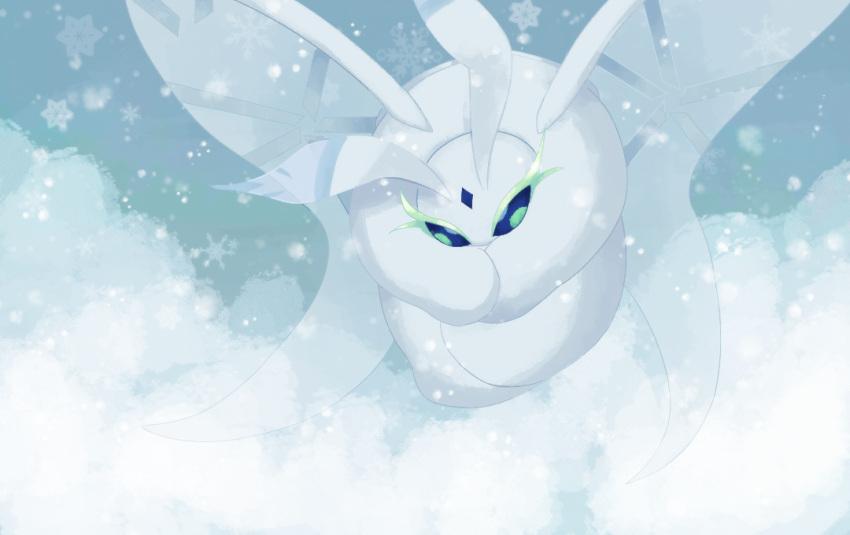 blue_eyes blue_sky bug frosmoth gen_8_pokemon insect moth no_humans oemmtoru outdoors pokemon pokemon_(game) pokemon_swsh sky snow snowflakes solo