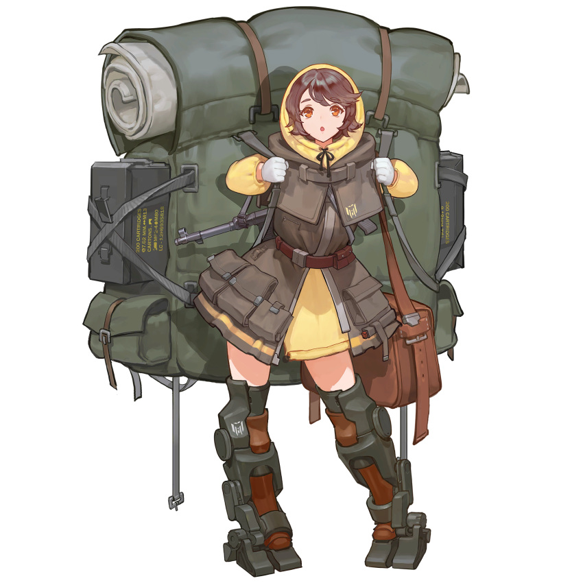 1girl ammo_box backpack bag blush brown_eyes brown_hair buckle eyebrows_visible_through_hair gloves gun highres holding holding_strap hood hood_up hoodie korean_text last_origin looking_at_viewer mp40 official_art open_mouth sangobob satchel short_hair solo standing submachine_gun t-50_px_silky tachi-e weapon white_gloves yellow_eyes yellow_hoodie