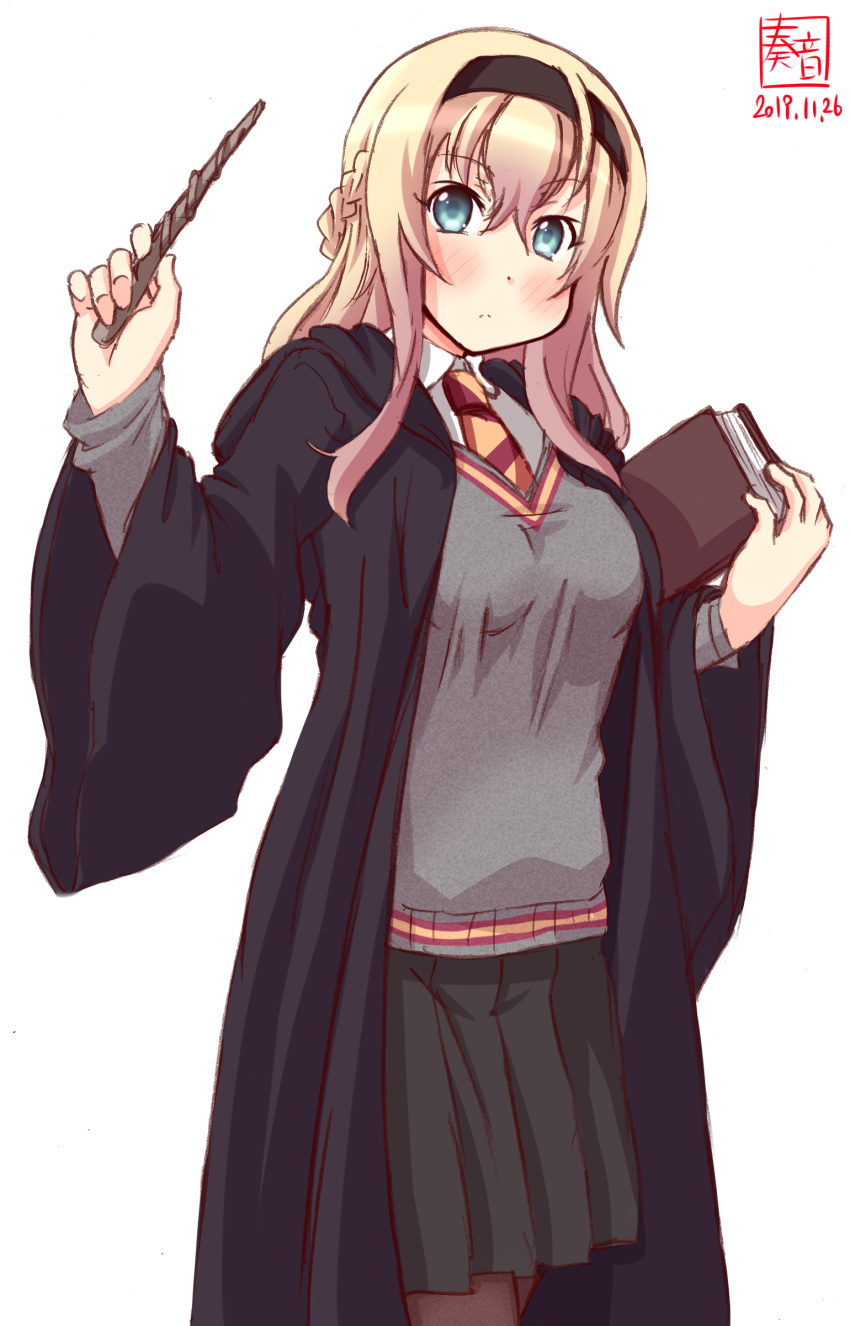 1girl absurdres alternate_costume artist_logo black_legwear black_robe black_skirt black_vest blonde_hair blue_eyes braid commentary_request cosplay cowboy_shot dated french_braid gryffindor harry_potter highres hogwarts_school_uniform kanon_(kurogane_knights) kantai_collection long_hair long_sleeves looking_at_viewer necktie pantyhose school_uniform simple_background skirt solo standing striped striped_neckwear sweater_vest trait_connection vest wand warspite_(kantai_collection) white_background