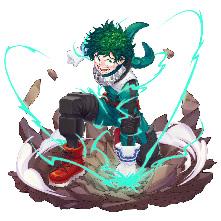 1boy blush bodysuit boku_no_hero_academia clenched_hands commentary_request energy freckles gloves green_bodysuit green_eyes green_hair highres looking_at_viewer messy_hair midoriya_izuku open_mouth red_footwear short_hair simple_background solo sumone_btk teeth white_background white_gloves