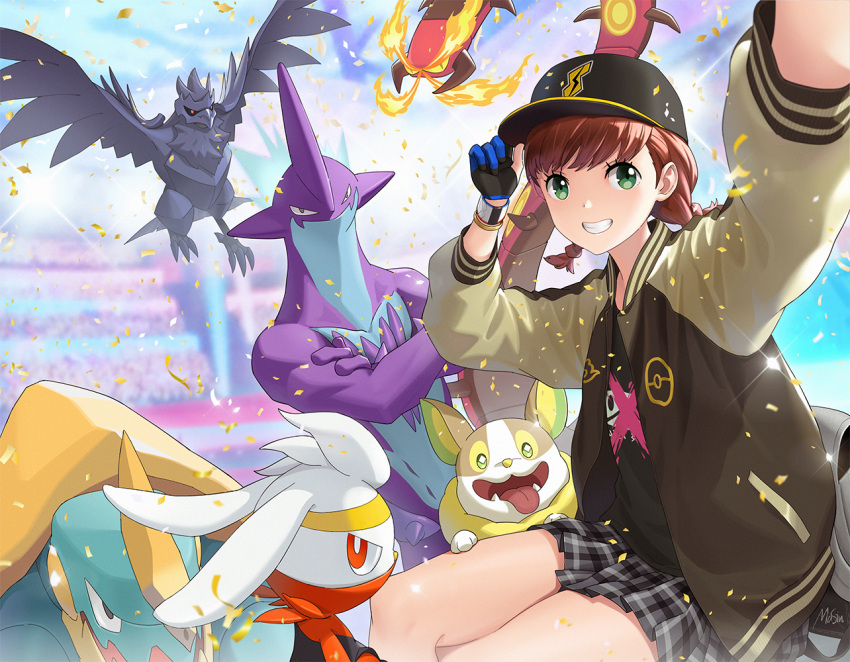 1girl adjusting_clothes adjusting_hat bag baseball_cap black_gloves blue_gloves blurry blurry_background bomber_jacket bracer braid brown_hair centiskorch confetti corviknight crossed_arms crossed_legs drednaw fire gen_8_pokemon glint gloves green_eyes grey_skirt grin hand_on_headwear hand_up hat jacket long_sleeves masin0201 miniskirt motion_blur open_clothes open_jacket outstretched_arm partly_fingerless_gloves plaid plaid_skirt pleated_skirt poke_ball_symbol pokemon pokemon_(creature) pokemon_(game) pokemon_swsh profile raboot redhead scorbunny self_shot signature sitting skirt smile stadium tongue tongue_out toxtricity twin_braids twintails two-tone_gloves yamper yuuri_(pokemon)
