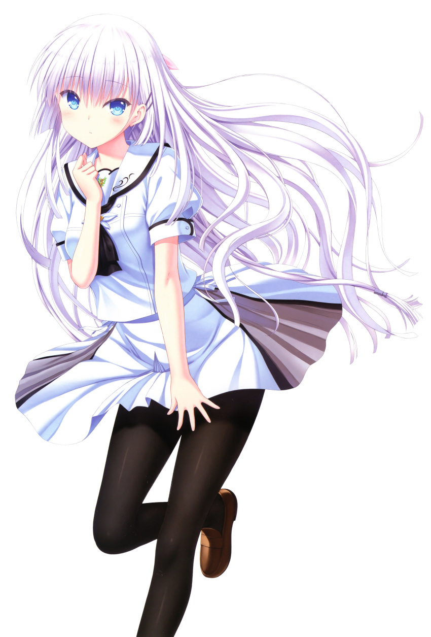 1girl absurdres bangs blue_eyes blush breasts brown_footwear closed_mouth copyright_name dated eyebrows_visible_through_hair hair_ornament hairclip hand_up highres huge_filesize leg_up loafers long_hair looking_at_viewer medium_breasts na-ga naruse_shiroha official_art page_number pantyhose scan school_uniform shiny shiny_clothes shoes short_sleeves skirt skirt_flip solo spread_skirt summer_pockets transparent_background white_hair