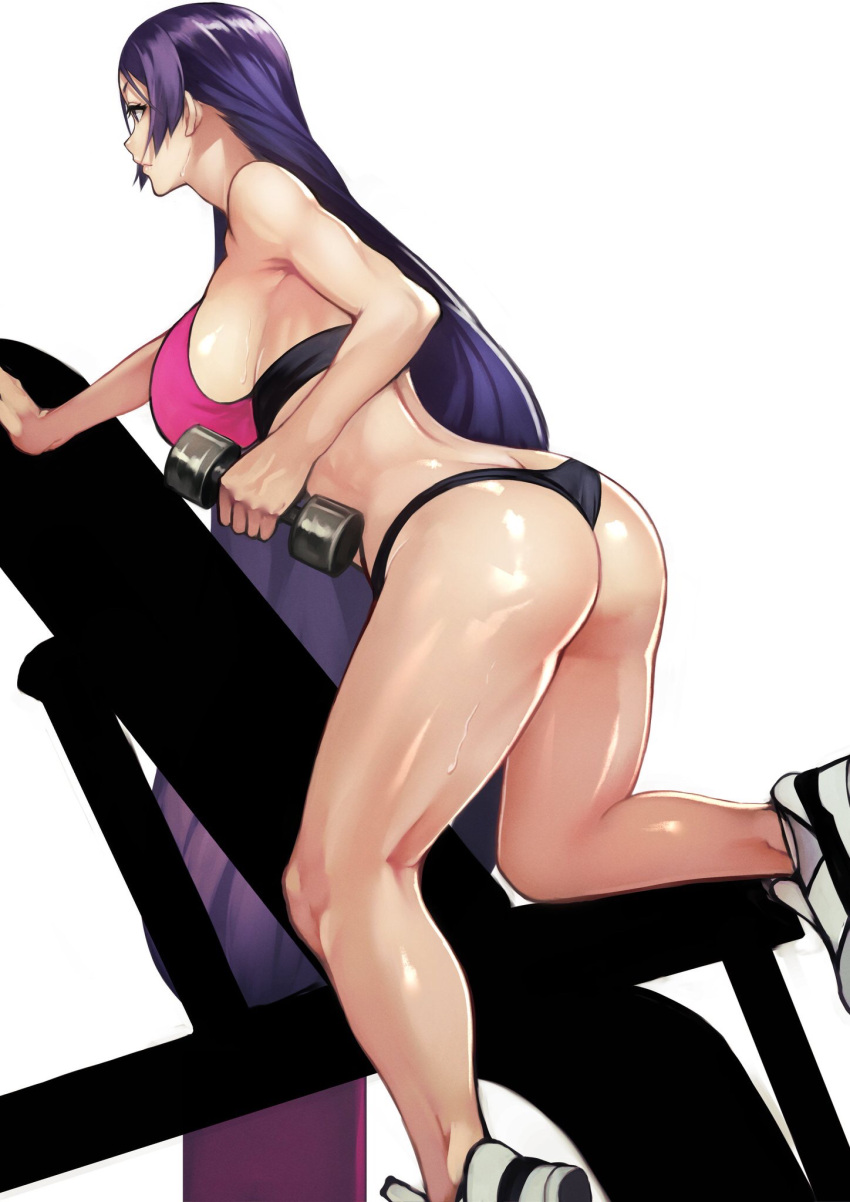 1girl 55level ass back bangs black_panties bra breasts dumbbell exercise fate/grand_order fate_(series) highres large_breasts legs long_hair low-tied_long_hair minamoto_no_raikou_(fate/grand_order) panties parted_bangs purple_bra purple_hair shoes simple_background smile sneakers solo sports_bra sweat thighs underwear very_long_hair violet_eyes white_background white_footwear