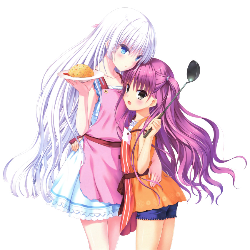 2girls :d absurdres apron arm_around_waist blue_eyes blue_shorts blush collarbone floating_hair hair_ornament highres holding holding_plate katou_umi long_hair miniskirt multiple_girls na-ga naruse_shiroha omelet one_side_up open_mouth orange_shirt pink_apron plate purple_hair red_apron shirt short_shorts shorts silver_hair skirt sleeveless sleeveless_shirt smile standing striped summer_pockets transparent_background vertical_stripes very_long_hair white_shirt white_skirt