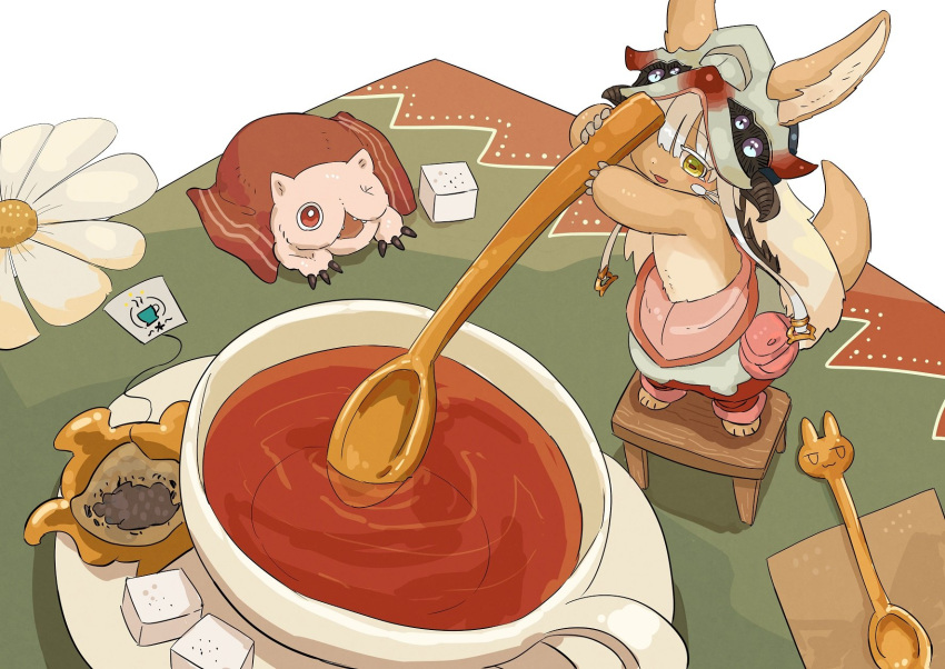 1girl 1other androgynous blush brown_eyes cup eyebrows_visible_through_hair flower furry helmet highres holding holding_spoon kawasemi27 looking_at_another looking_away made_in_abyss mitty_(made_in_abyss) nanachi_(made_in_abyss) open_mouth red_eyes short_hair smile spoon standing stool sugar_cube tea teacup white_hair