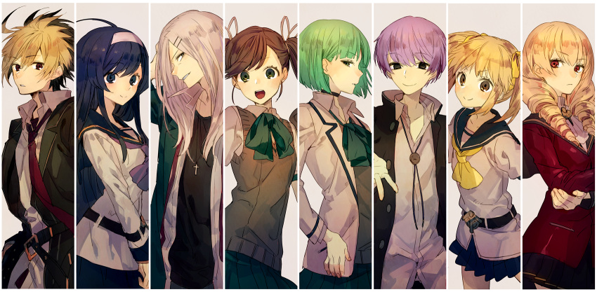 3boys 5girls ahoge amulet bangs belt black_eyes black_hair blonde_hair blue_eyes blue_hair blush bow breasts brown_hair byakuya_(under_night_in-birth) carmine choker collage cropped_jacket cross drill_hair erika_wagner eyebrows_visible_through_hair flat_chest gakuran green_eyes green_hair grey_hair grin hair_ornament hair_over_one_eye hair_ribbon hairband highres huge_ahoge hyde_(under_night_in-birth) jacket light_green_hair long_hair looking_at_viewer looking_to_the_side medium_breasts mika_(under_night_in-birth) multicolored_hair multiple_boys multiple_girls nanase_(under_night_in-birth) necktie open_mouth orie_(under_night_in-birth) pants phonon_(under_night_in-birth) red_eyes ribbon sailor_collar school_uniform shirt short_hair short_twintails skirt small_breasts smile smug standing surprised suzunashi sweater_vest twin_drills twintails two-tone_hair under_night_in-birth uniform very_long_hair violet_eyes white_hair white_hairband yellow_eyes