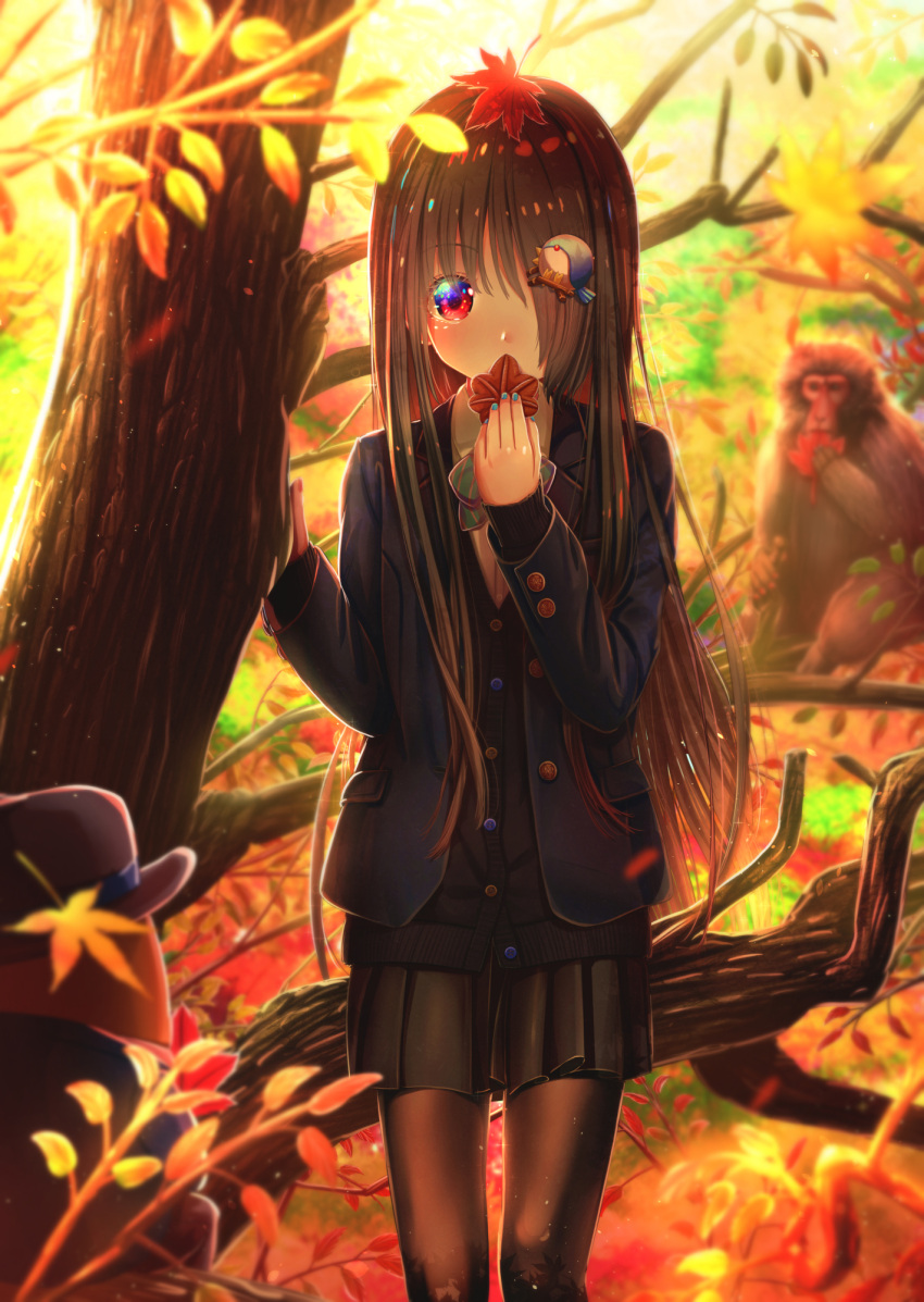 1girl abo_(kawatasyunnnosukesabu) aqua_nails autumn autumn_leaves baboon bird_hair_ornament black_cardigan black_legwear black_skirt blazer bow bowtie cardigan commentary_request green_neckwear hair_ornament hair_over_one_eye haniwa_(statue) hat highres holding holding_leaf jacket leaf leaf_on_head long_hair long_sleeves looking_at_viewer monkey nail_polish original outdoors pantyhose red_eyes skirt solo striped striped_neckwear tree very_long_hair