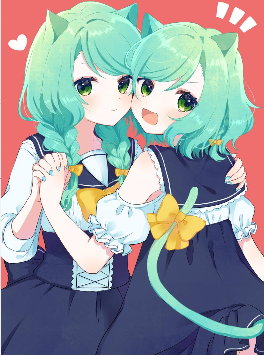2girls :3 :d absurdres animal_ears aqua_hair aqua_nails bang_dream! bow braid cat_ears cheek-to-cheek corset fang frilled_sleeves frills hair_bow hand_on_another's_shoulder heart high-waist_skirt highres hikawa_hina hikawa_sayo hinakano_h holding_hands kemonomimi_mode long_hair long_sleeves looking_at_viewer looking_back multiple_girls navy_blue_skirt notice_lines open_mouth red_background school_uniform serafuku short_hair short_sleeves shoulder_cutout siblings side_braid sisters skin_fang skirt smile tail tail_bow twin_braids twins yellow_bow