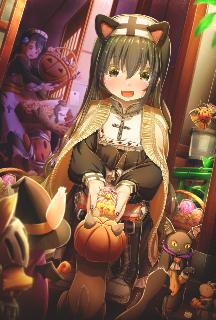 2girls :d abo_(kawatasyunnnosukesabu) absurdres animal animal_ears apron bag bangs basket bird_hair_ornament black_cat black_eyes black_footwear black_hair boots bug cape cat cat_ears clothed_animal commentary_request cross cross_necklace fangs hair_ornament halloween halloween_costume haniwa_(statue) hat head_wings highres holding holding_bag hood jack-o'-lantern jewelry lace lace-trimmed_legwear long_hair long_sleeves maid_headdress mouse multiple_girls nail_polish necklace nun open_mouth orange_legwear original red_eyes smile socks spider squatting trick_or_treat witch_hat