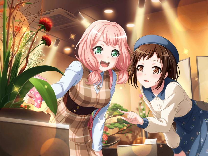 bang_dream! blush dress green_eyes pink_hair short_hair smile uehara_himari wink
