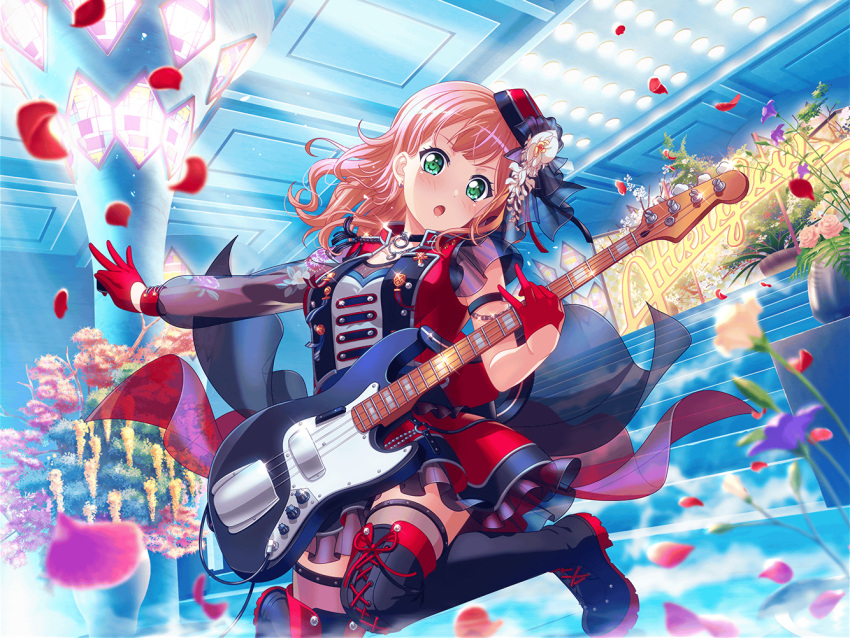 bang_dream! blush dress green_eyes guitar pink_hair short_hair smile uehara_himari