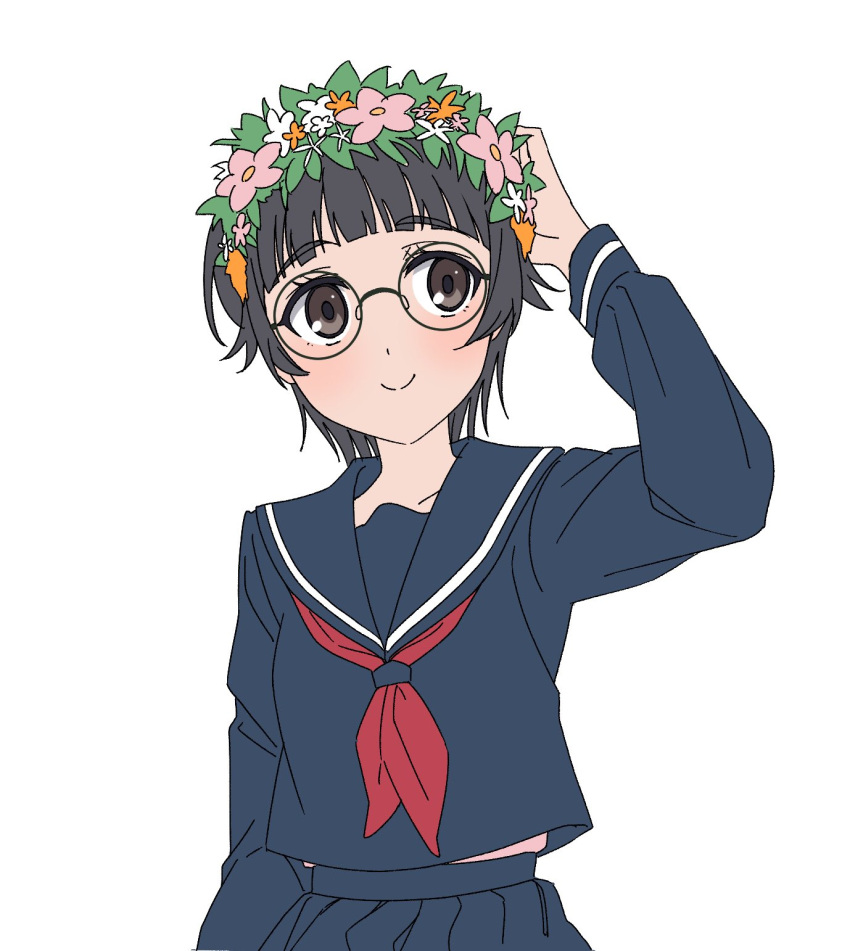 1girl arm_up bangs bespectacled black-framed_eyewear black_hair blue_sailor_collar blue_skirt blunt_bangs brown_eyes closed_mouth commentary_request eyebrows_visible_through_hair flower flower_wreath glasses head_wreath highres light_blush long_sleeves naguramu neckerchief orange_flower pink_flower pleated_skirt red_neckwear round_eyewear sailor_collar sakugawa_school_uniform school_uniform serafuku short_hair simple_background skirt smile solo to_aru_kagaku_no_railgun to_aru_majutsu_no_index uiharu_kazari upper_body white_background white_flower