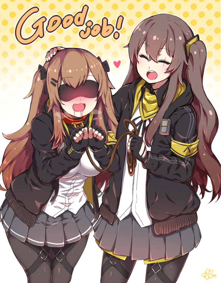 2girls :d ^_^ ^o^ absurdres bangs black_gloves blackletter blindfold blush bow breasts closed_eyes collar drooling english_text eyebrows_visible_through_hair fang fingerless_gloves girls_frontline gloves hair_between_eyes hair_bow hair_ornament hat highres hood hooded_jacket jacket leash long_hair multiple_girls open_mouth petting pleated_skirt scar scar_across_eye side_ponytail skirt smile thigh_strap twintails ump45_(girls_frontline) ump9_(girls_frontline) yugion