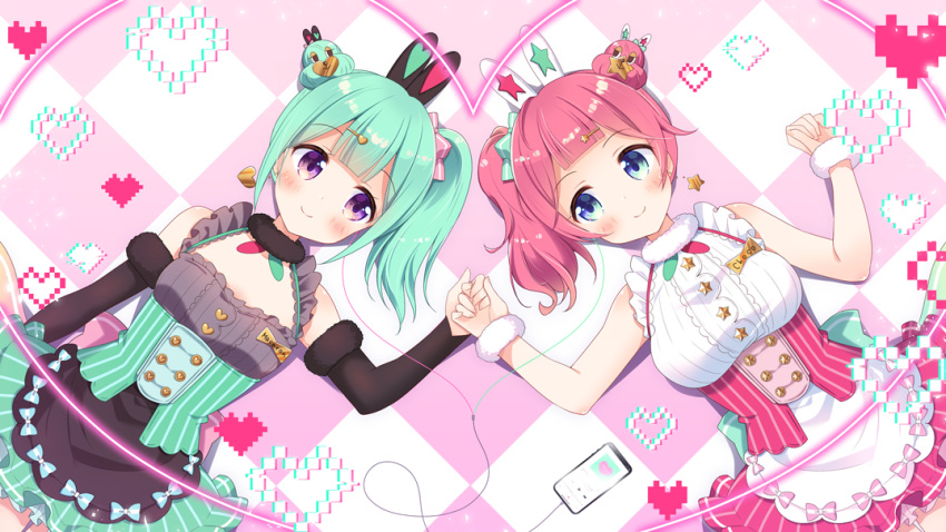 2girls aoi_yun apron bangs bare_shoulders black_apron black_sleeves blue_eyes blush breasts cellphone character_request checkered checkered_background closed_mouth collarbone commentary_request detached_sleeves earphones fur-trimmed_sleeves fur_trim green_hair green_skirt hair_bun hair_ornament hairclip happy_synthesizer_(vocaloid) heart heart_hair_ornament holding_hands large_breasts long_sleeves lying multiple_girls official_art on_back phone pink_hair pink_skirt shared_earphones shirt side_ponytail skirt sleeveless sleeveless_shirt small_breasts smartphone smile star star_hair_ornament striped vertical-striped_skirt vertical_stripes violet_eyes virtual_youtuber waist_apron white_apron white_shirt