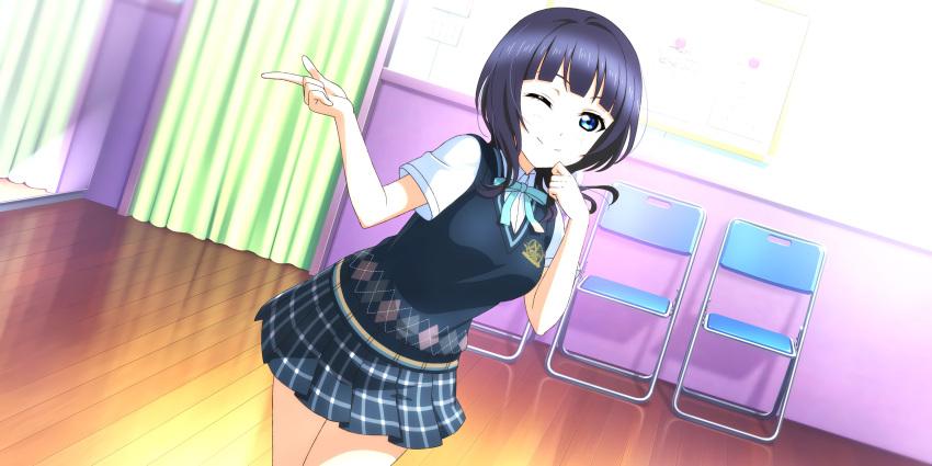 asaka_karin blue_eyes blue_hair blush dress love_live!_school_idol_festival_all_stars short_hair smile