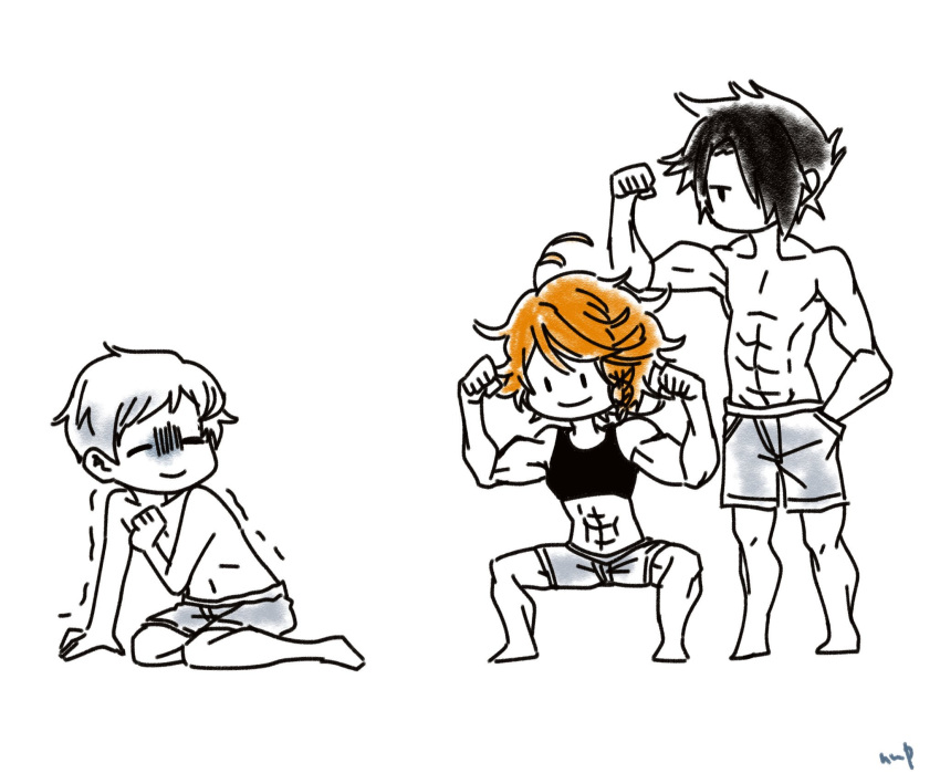 1girl 2boys abs biceps black_hair emma_(yakusoku_no_neverland) highres multiple_boys muscle muscle_envy muscular_female norman_(yakusoku_no_neverland) nufisu orange_hair ray_(yakusoku_no_neverland) shirt short_hair simple_background smile sports_bra squatting white_hair white_shirt yakusoku_no_neverland