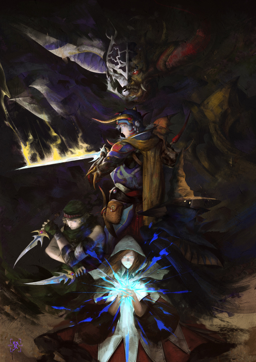 1other 3boys absurdres armor bandana black_mage cape chaos_(ff1) dagger dark_background dark_clouds dual_persona dual_wielding edward_tsang fangs final_fantasy final_fantasy_i garland_(ff1) glowing glowing_eyes glowing_sword glowing_weapon hat helmet highres holding hood horned_helmet horns looking_at_viewer magic monster multiple_boys red_eyes sharp_teeth smile sword teeth thief_(final_fantasy) warrior_of_light weapon white_mage wizard_hat