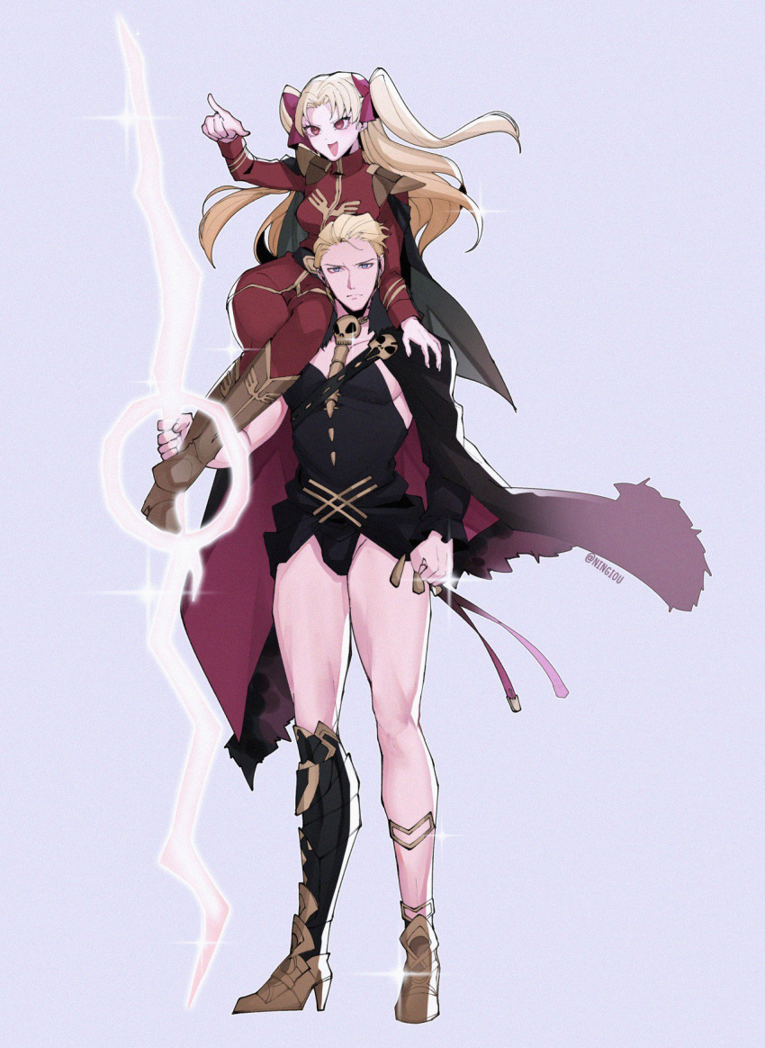 1boy 1girl asymmetrical_legwear belt belt_buckle black_belt black_cape black_legwear blonde_hair blue_eyes boots brown_footwear buckle cape cape_billowing carrying_over_shoulder char_aznable char_aznable_(cosplay) cosplay costume_switch detached_sleeves ereshkigal_(fate/grand_order) ereshkigal_(fate/grand_order)_(cosplay) fate/grand_order fate_(series) fur-trimmed_cape fur_trim gold_footwear grey_cape gundam hand_on_shoulder highres jacket knee_boots kyou_(ningiou) military military_uniform mobile_suit_gundam multicolored multicolored_cape multicolored_clothes pants red_cape red_eyes red_jacket red_pants shoulder_armor single_detached_sleeve single_thighhigh skull sparkle spine thigh-highs twintails twitter_username uniform zeon