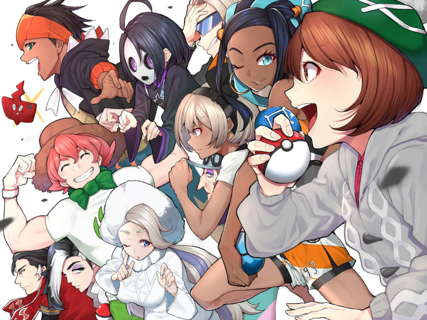 6+boys 6+girls age_difference ahoge bare_shoulders beet_(pokemon) black_bodysuit black_hair black_jacket blue_eyes bodysuit breasts brown_eyes brown_hair cardigan commentary_request dress eyebrows_visible_through_hair face_mask freckles from_side frown fur_trim glasses green_headwear grey_hair grin hair_between_eyes happy holding holding_poke_ball jacket large_breasts lass_(pokemon) long_hair mask mikan_(chipstar182) multiple_boys multiple_girls one_eye_closed onion_(pokemon) pink_dress pink_hair poke_ball pokemon pokemon_(game) pokemon_swsh rotom rotom_dex rurina_(pokemon) saitou_(pokemon) shirt short_hair smile sonia_(pokemon) violet_eyes white_shirt yuuri_(pokemon)