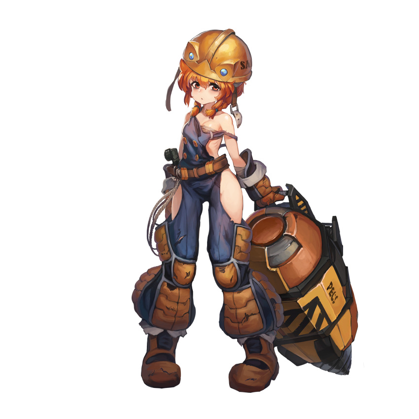 1girl bags_under_eyes belt boots braid breasts construction_worker drill dutch_girl_(last_origin) full_body hardhat helmet highres last_origin looking_at_viewer official_art orange_eyes orange_hair overalls paintale small_breasts solo tachi-e tool_belt tools transparent_background twin_braids