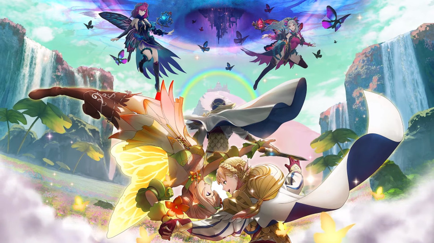 1boy alfonse_(fire_emblem) armor artist_request black_dress blonde_hair blue_hair boots bug butterfly butterfly_wings cape clouds cloudy_sky day dress fairy_wings field fire_emblem fire_emblem_heroes flower flower_field gloves gradient gradient_clothes gradient_hair hair_ornament highres holding holding_sword holding_weapon insect long_hair long_sleeves multicolored_hair multiple_girls official_art outdoors peony_(fire_emblem) pink_hair plumeria_(fire_emblem) pointy_ears rainbow sharena short_dress sky sleeveless sparkle striped sword thigh-highs thigh_boots tied_hair triandra_(fire_emblem) vertical_stripes water waterfall weapon wings zettai_ryouiki