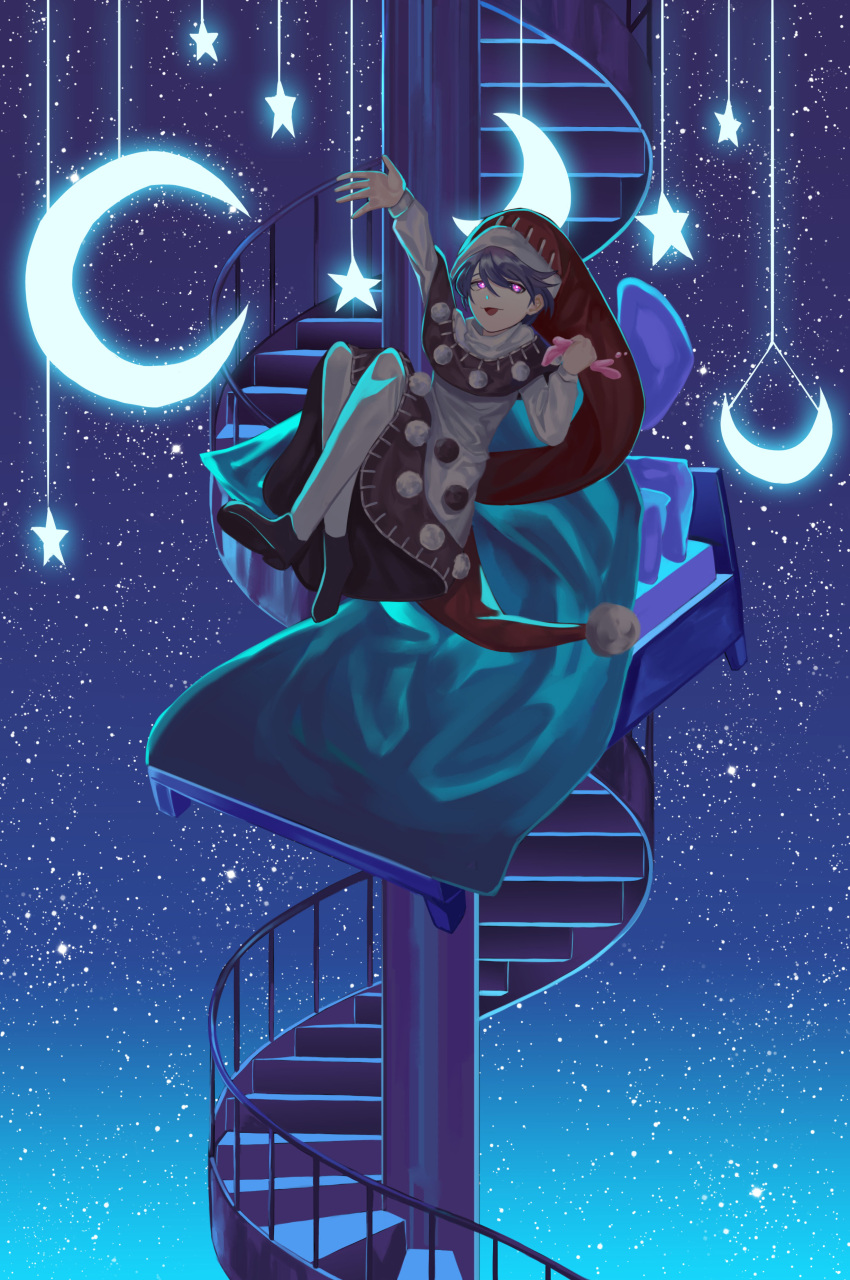 1girl absurdres bed blue_hair doremy_sweet dress hat highres moon night night_sky nightcap open_mouth pink_eyes pom_pom_(clothes) reki_(user_rcrd4534) short_hair sky smile stairs star touhou
