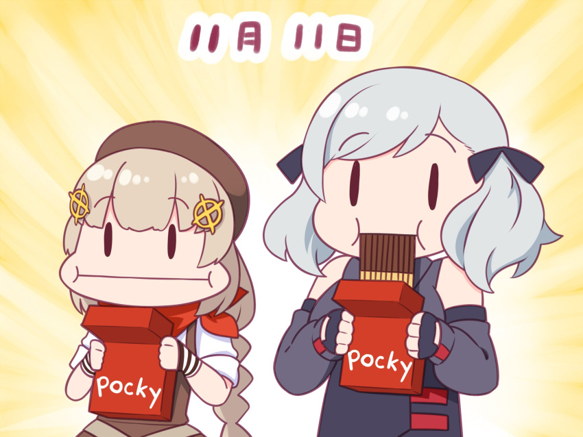 ._. 2girls beret brown_hair dated eating english_text fnc_(girls_frontline) food girls_frontline glutton grey_hair haradasan hat highres multiple_girls pocky pocky_day spas-12_(girls_frontline) translated