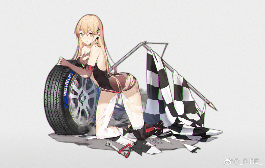 1girl arched_back black_footwear boots breasts checkered checkered_flag earrings elbow_gloves fingerless_gloves flag girls_frontline gloves grey_background hair_ornament jewelry kneeling light_brown_eyes light_brown_hair long_hair looking_at_viewer medium_breasts piercing pliers ppk_(girls_frontline) racequeen simple_background smile_(mm-l) solo thigh-highs thigh_boots tire torn_clothes weibo_username wet white_legwear wrench