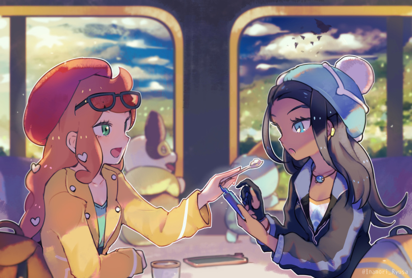 2girls beanie beret black_hair blue_eyes blurry brown_hair casual cellphone chewtle commentary_request dark_skin depth_of_field eyewear_on_head feeding food gen_8_pokemon gloves green_eyes gym_leader hair_ornament hat heart heart_hair_ornament highres inaeda_kei jacket jewelry looking_at_another multiple_girls necklace open_mouth partly_fingerless_gloves phone pokemon pokemon_(creature) pokemon_(game) pokemon_swsh rurina_(pokemon) single_glove sitting smartphone smile sonia_(pokemon) spoon table yamper