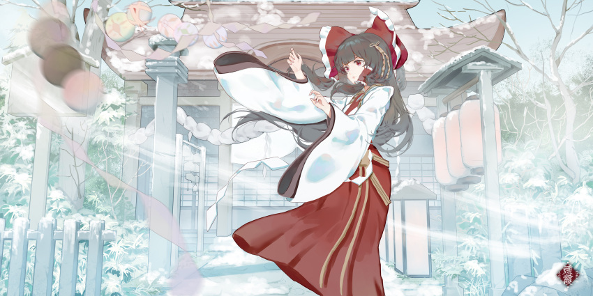 1girl ball bangs bow brown_hair childwolf ema fence frilled_bow frills fusuma hair_bow hair_tubes hakurei_reimu hakurei_shrine highres japanese_clothes lantern looking_to_the_side miko paper paper_lantern red_bow red_eyes red_skirt rope scenery shimenawa skirt sliding_doors snow stone_walkway temari_ball touhou tree wind wooden_fence