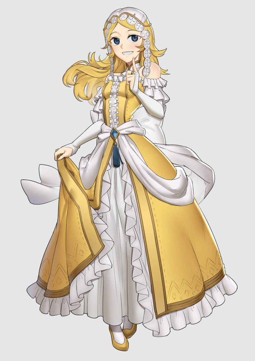 1girl blonde_hair blue_eyes commissioner_upload detached_collar ebinku finger_to_cheek fire_emblem fire_emblem:_awakening fire_emblem:_kakusei hair_down lissa_(fire_emblem) princess smile strapless strapless_dress yellow_dress