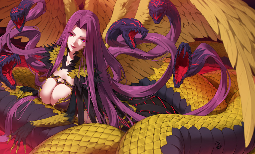 1girl breasts bustier claws cleavage_cutout eyebrows_visible_through_hair eyes_visible_through_hair fate/grand_order fate_(series) from_above gorgon_(fate) highres large_breasts long_hair looking_at_viewer monster_girl purple_hair scales slit_pupils snake very_long_hair wings yang-do