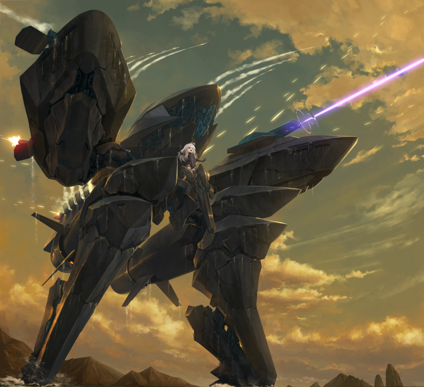 1girl ace_combat ace_combat_7 alicorn_(ace_combat) arms_up clouds cloudy_sky commentary_request gun highres laser_beam long_hair machine_gun mecha_musume missile missiles mountain open_mouth outdoors outstretched_arms personification red_eyes robot sky tom-neko_(zamudo_akiyuki) weapon white_hair
