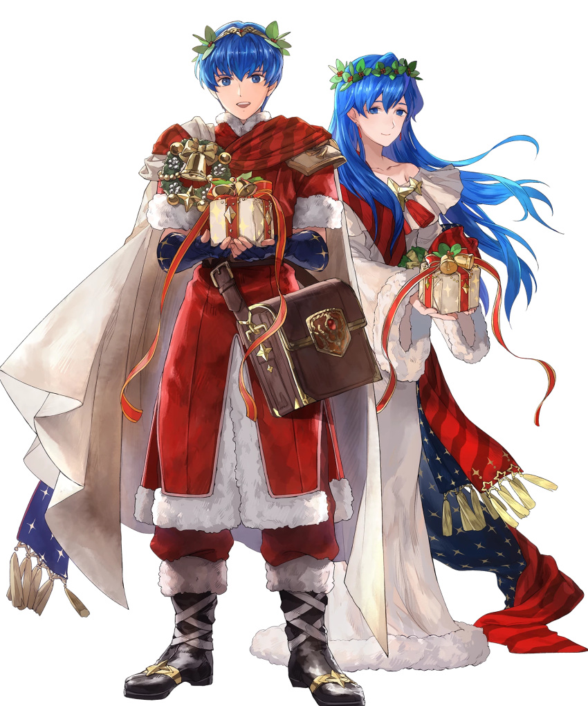1boy 1girl bag bell blue_eyes blue_hair boots bow brother_and_sister cape christmas christmas_ornaments elice_(fire_emblem) fingerless_gloves fire_emblem fire_emblem:_monshou_no_nazo fire_emblem:_mystery_of_the_emblem fire_emblem:_shadow_dragon fire_emblem:_shin_ankoku_ryuu_to_hikari_no_tsurugi fire_emblem_heroes fur_trim gift gloves highres intelligent_systems leaf long_hair marth_(fire_emblem) mayo_(becky2006) nintendo official_art open_mouth siblings super_smash_bros. teeth tiara transparent_background