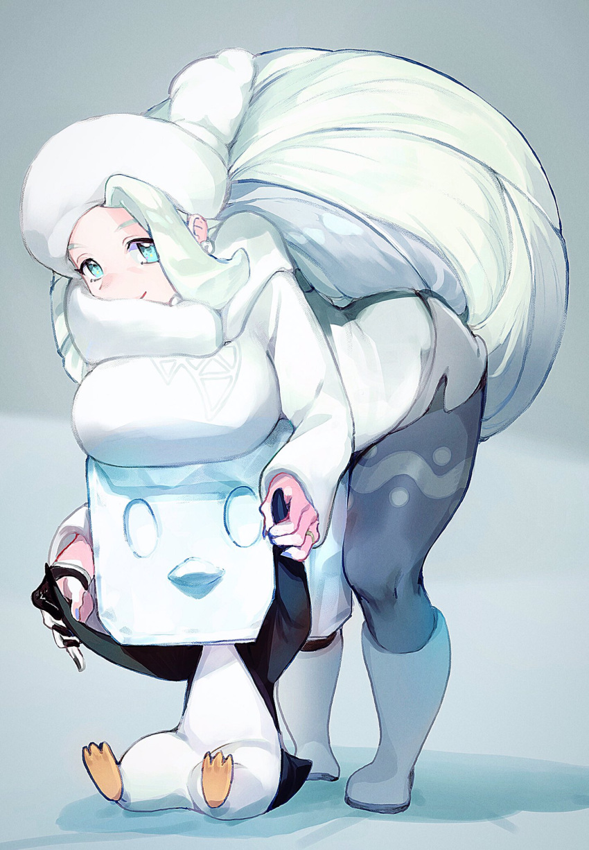 1girl blue_eyes boots breast_rest breasts breasts_on_head eiscue fur_hat gen_8_pokemon hat highres jewelry large_breasts long_hair melon_(pokemon) pantyhose pokemon pokemon_(game) pokemon_swsh ring shorts smile souji_hougu sweater ushanka white_hair