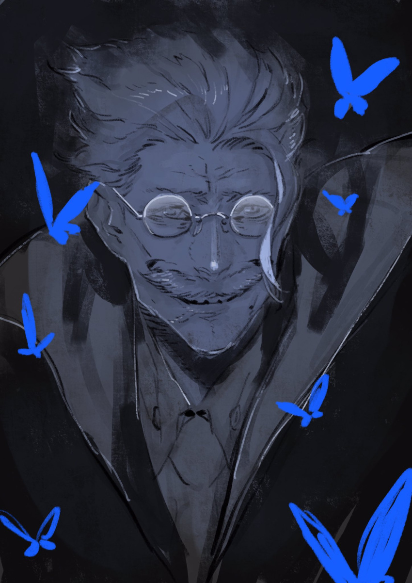 1boy blue blue_butterfly bug butterfly facial_hair glasses grin highres insect james_moriarty_(fate/grand_order) looking_at_viewer male_focus miwa_shirou mustache old_man portrait smile solo spectacles