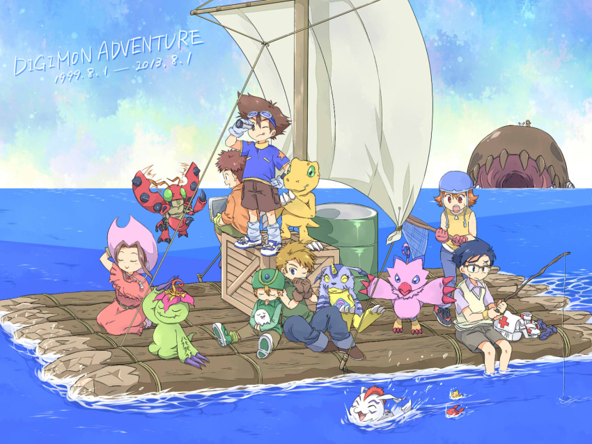 2girls 5boys agumon anniversary barrel brothers butterfly_net commentary_request computer copyright_name crate dated digimon digimon_adventure first_aid_kit fish fishing fishing_rod gabumon gomamon hand_net highres ishida_yamato izumi_koushirou kido_jou laptop log multiple_boys multiple_girls net ocean oosuzu_aoi palmon piyomon poyomon raft rope sail siblings sleeping smile spyglass tachikawa_mimi tailmon takaishi_takeru takenouchi_sora telescope tentomon whamon yagami_hikari yagami_taichi