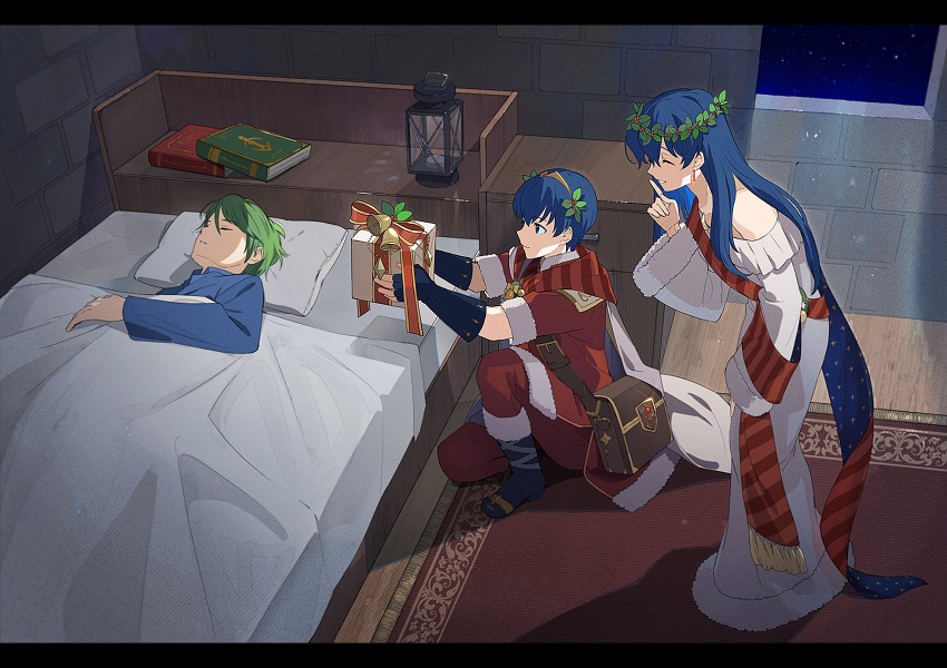 1girl 2boys bed blue_hair book boots box brother_and_sister closed_eyes closed_mouth dress earrings elice_(fire_emblem) finger_to_mouth fingerless_gloves fire_emblem fire_emblem:_mystery_of_the_emblem fire_emblem_11 fire_emblem_3 fire_emblem_heroes fire_emblem_shadow_dragon from_side fur_trim gift gift_box gloves green_hair highres holding intelligent_systems jewelry kyufe long_hair long_sleeves marth_(fire_emblem) merric_(fire_emblem) multiple_boys nintendo one_knee parted_lips pillow short_hair short_sleeves shushing siblings sleeping super_smash_bros. tiara